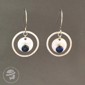 Concentric circles sterling & sodalite earrings