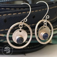 Load image into Gallery viewer, Concentric circles sterling & sodalite earrings