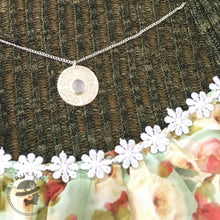 Load image into Gallery viewer, Floral sterling and rose quartz gemstone necklace