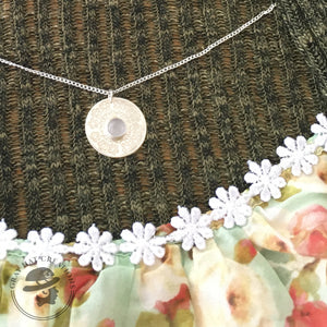 Floral sterling and rose quartz gemstone necklace