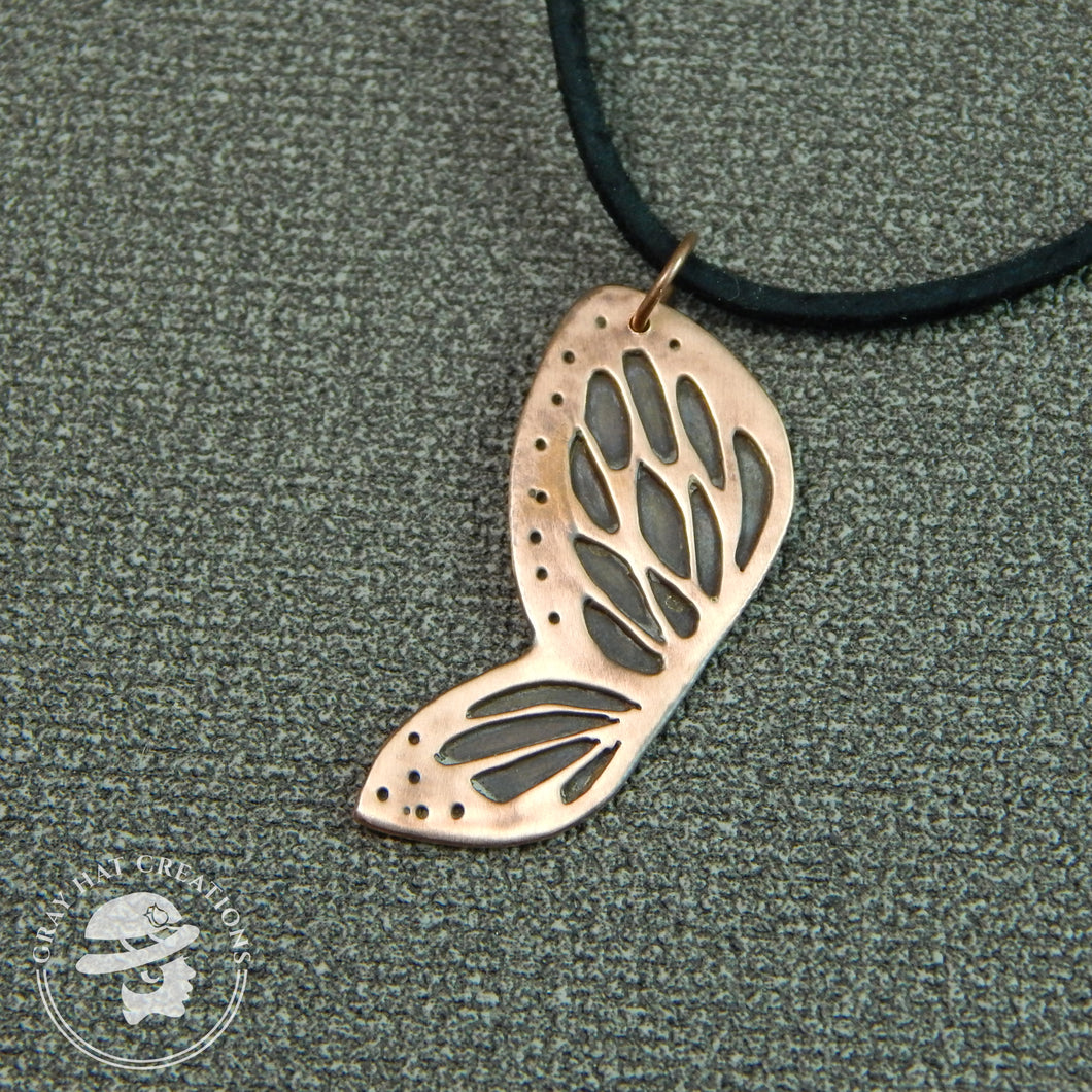 Copper spots & dots butterfly wing necklace