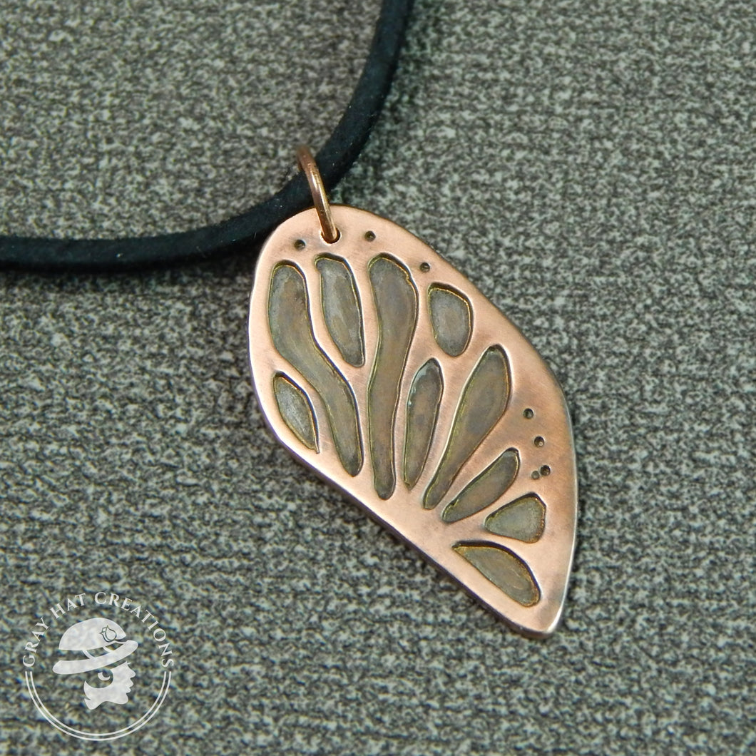 Copper monarch butterfly wing necklace