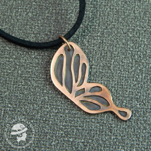 Copper ebb & flow butterfly wing necklace