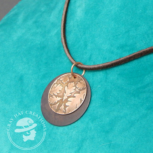 Copper oak leaf leather necklace