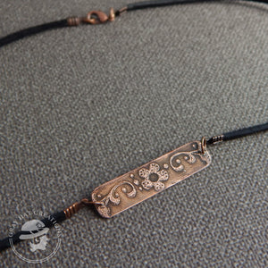 Copper floral bar necklace