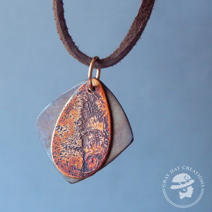 Copper etched teardrop with diamond background