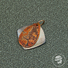 Load image into Gallery viewer, Copper etched teardrop with diamond background