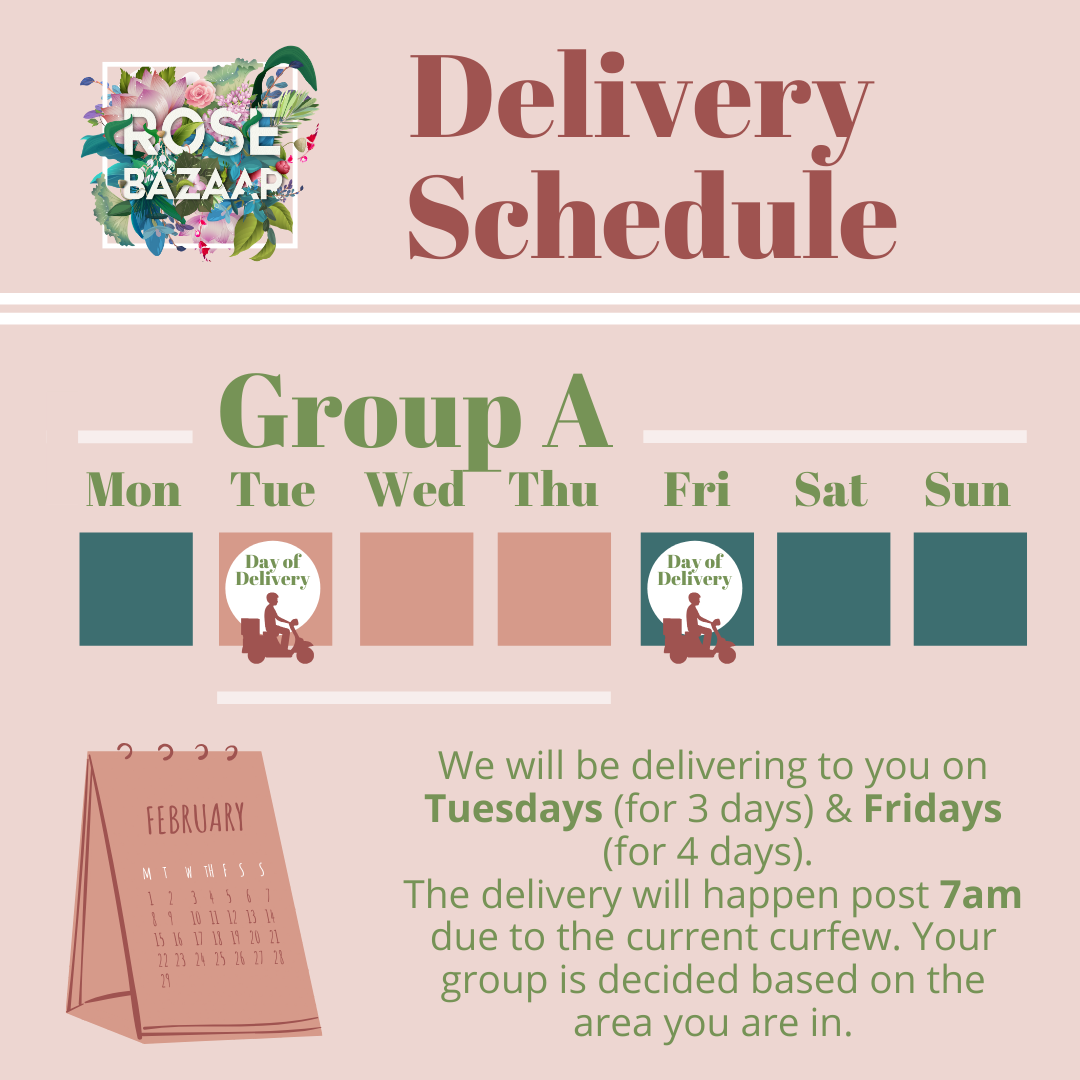 Delivery Schedule for Fresh Flowers Rose Bazaar