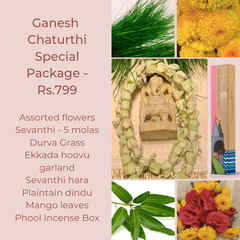 Rose Bazaar, Ganesh Chaturthi, festival, story behing ganesh Chaturthi, curated packages, home delivery, puja/pooja, banana, assorted flowers, mola, garlands, durva grass, ekkada hoovu, hara, dindu, plantain, phool, incense box, agarbathi, mango leaves