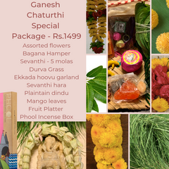Rose Bazaar, Ganesh Chaturthi, festival, story behing ganesh Chaturthi, curated packages, home delivery, puja/pooja, banana, assorted flowers, mola, garlands, durva grass, ekkada hoovu, hara, dindu, plantain, phool, incense box, agarbathi, mango leaves, fruit platter, Pear, Banana, Custard appple, Orange, Grapes