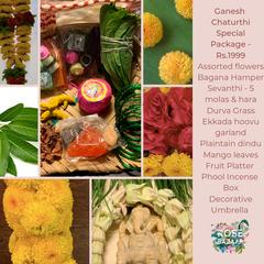 Rose Bazaar, Ganesh Chaturthi, festival, story behing ganesh Chaturthi, curated packages, home delivery, puja/pooja, banana, assorted flowers, mola, garlands, durva grass, ekkada hoovu, hara, dindu, plantain, phool, incense box, agarbathi, mango leaves, fruit platter, Pear, Banana, Custard appple, Orange, Grapes, decorative umbrella