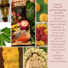 Rose Bazaar, Ganesh Chaturthi, festival, story behing ganesh Chaturthi, curated packages, home delivery, puja/pooja, banana, assorted flowers, mola, garlands, durva grass, ekkada hoovu, hara, dindu, plantain, phool, incense box, agarbathi, mango leaves, fruit platter, Pear, Banana, Custard appple, Orange, Grapes, decorative umbrella, roses