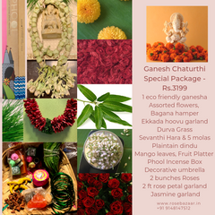 Rose Bazaar, Ganesh Chaturthi, festival, story behing ganesh Chaturthi, curated packages, home delivery, puja/pooja, banana, assorted flowers, mola, garlands, durva grass, ekkada hoovu, hara, dindu, plantain, phool, incense box, agarbathi, mango leaves, fruit platter, Pear, Banana, Custard appple, Orange, Grapes, decorative umbrella, rose garland, jasmine garland