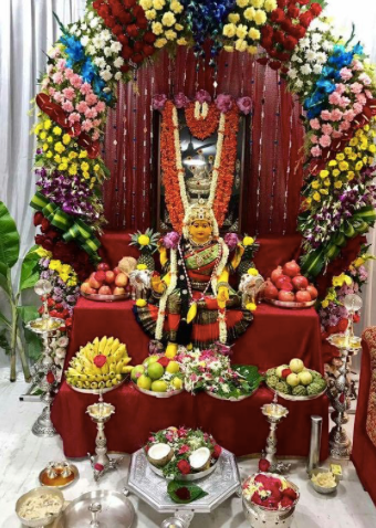 Varamahalakshmi, Rose Bazaar, Puja flowers, festivals, hindu, home delivery, thomala, arch, pooja/puja room, jasmine, roses, gerbera, sevanthi, paneer roses, karishma roses, customised, Goddesses of Wealth(Shri), Earth(Bhu), Learning(Saraswati), Love(Priti), Fame(Kirti), Peace(Shanti), Pleasure(Tushti) and Strength(Pushti).