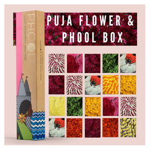 Puja or Pooja flowers calendar from Rose Bazaar and Incense or Agarbathi sticks from Phool