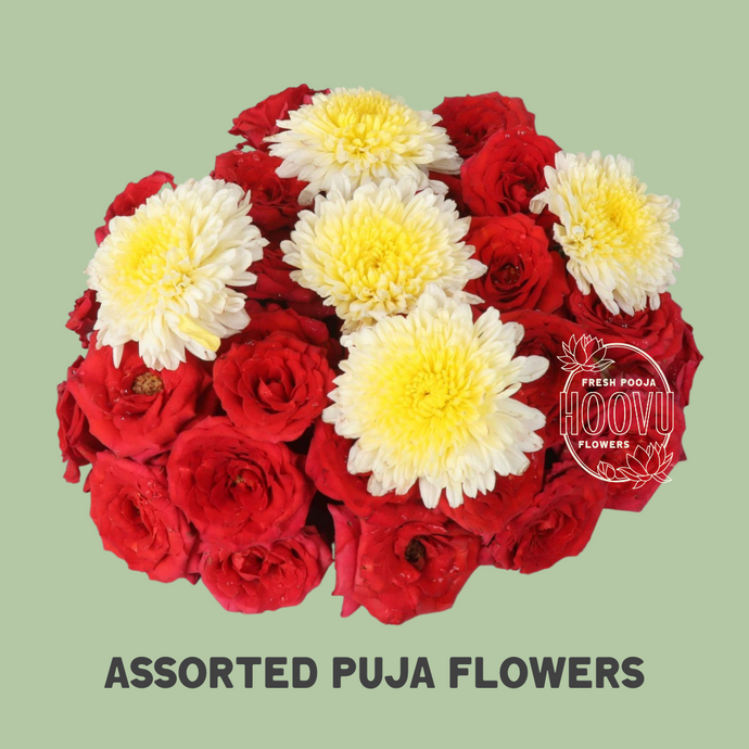Assorted Puja Flowers 100 grams - One time
