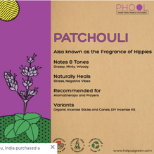 Load image into Gallery viewer, Patchouli incense of agarbathi from Phool on Rose Bazaar