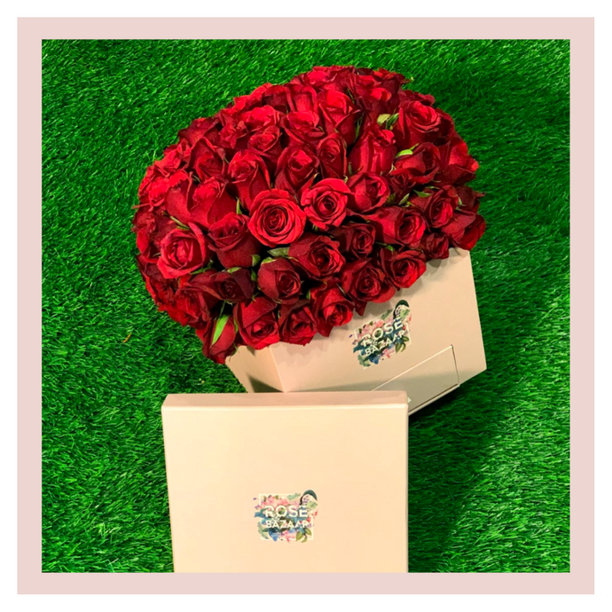 Flower box gifting rose roses gift flowers bouquet Rose Bazaar Karuturi
