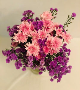 Pink and purple flowers home decor bouquet by Rose bazaar