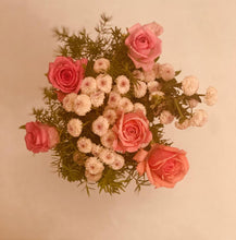 Load image into Gallery viewer, white and pink roses flower home decor bouquet by Rose bazaar