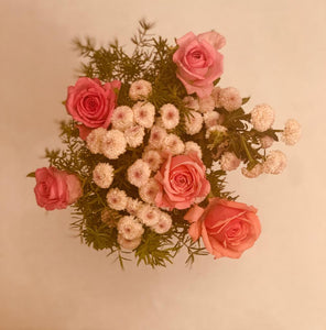 white and pink roses flower home decor bouquet by Rose bazaar