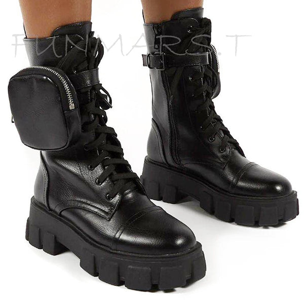 2020 New Chunky Boots Fashion Pocket  Women
