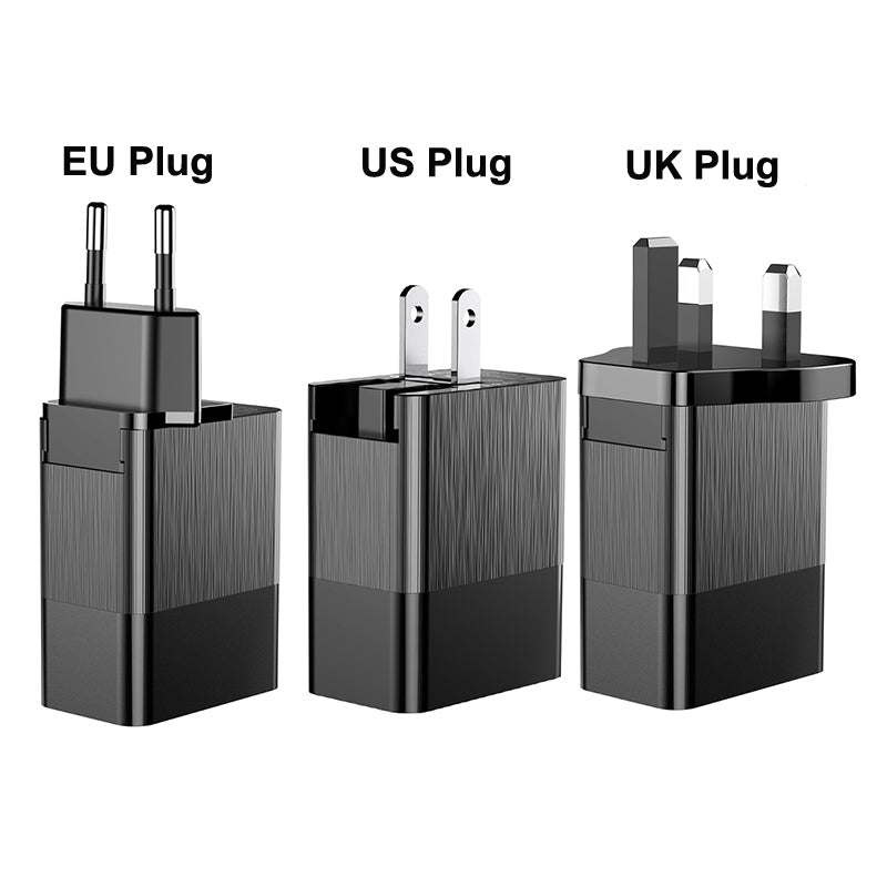 Baseus Universal USB Charger 2.4A Travel Adapter Wall Power Free Switch to EU/US/UK Plug