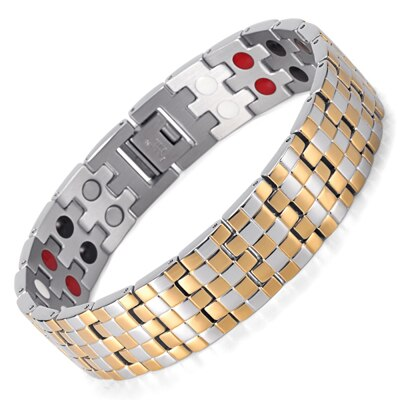 Double Row 4 Elements Stainless Steel Tharepy Bracelet  Polished For Men OSB-1044