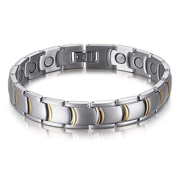 RainSo Magnet Bracelets Stainless Steel Gold Color Fashion Men's