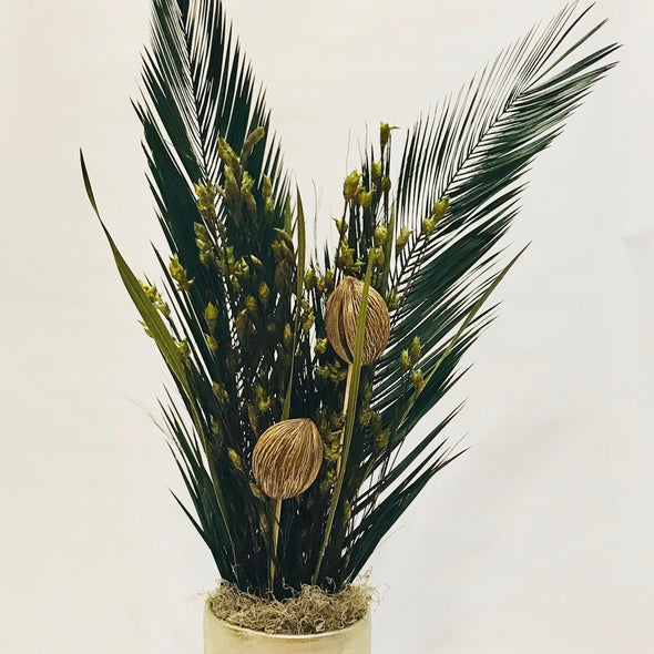 Tall Brushed Bronze Vase w/ Preserved Palms