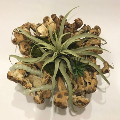 Raw mango wood bowl with everlasting (faux) tillandsia, succulents, Spanish moss, and African recycled glass beads.*  A beautiful way to liven up your coffee table, entryway, or kitchen island!