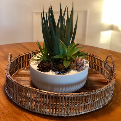 Filled with high quality, luxury faux succulents, this custom designed planter looks beautiful in every room. The melamine bowl is lightweight; its clean lines and modern aesthetic lend itself well to many interior styles. The faux succulents are exceptionally realistic and will fool everyone! No water needed!