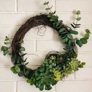 Faux Succulent Wreath, Small