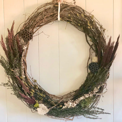 Harvest Wreath with preserved botanicals
