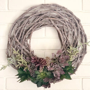 "This one is a stunner! The colors are so beautiful on this rattan wood wreath and it looks amazing all year round!  Approximately 24"" wide. We can make custom orders to fit any color palette/season!"