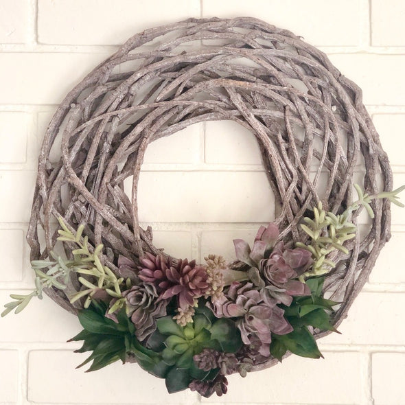 Large Reclaimed Wood Wreath w/ Faux Succulents
