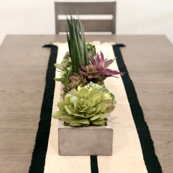Large cement planter filled with luxury faux succulents- perfect for your table or kitchen island. Modern + updated for a clean aesthetic.  No maintenance needed: no water, no soil, no sunlight.  Just set it down + walk away... it will look amazing 24/7!