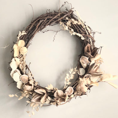 Bleached Preserved Botanical Wreath
