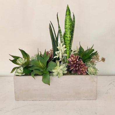 Our modern cement planter with faux succulents adds just the right touch of modern elegance + natural beauty... and you'll never need to water it! Our high quality faux greenery is deceptively real looking and will fool even the most discerning eye. Fits perfectly in any room!