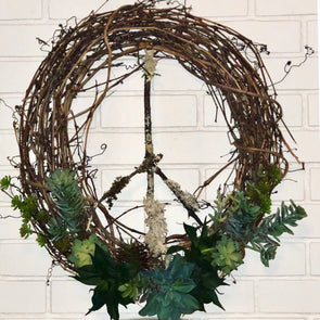 Peace Faux Succulent Wreath