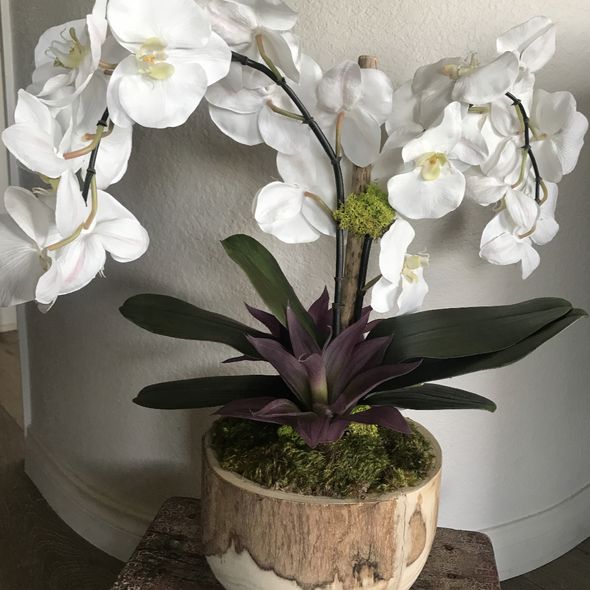 Paulownia Wood Bowl with Faux Orchids