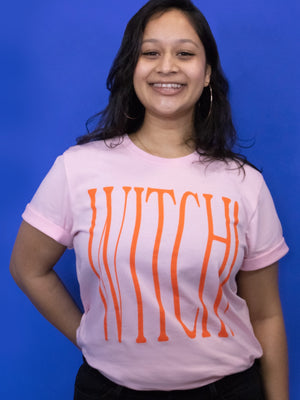 Witch! Tee: Pink + Orange