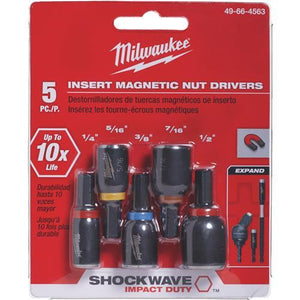 Milwaukee Shockwave 5-Piece Impact Magnetic Nutdriver Bit Set 49-66-4563