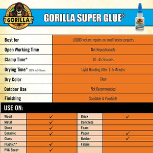 Gorilla Super Glue 15 Gram, Clear, (9 Pack)