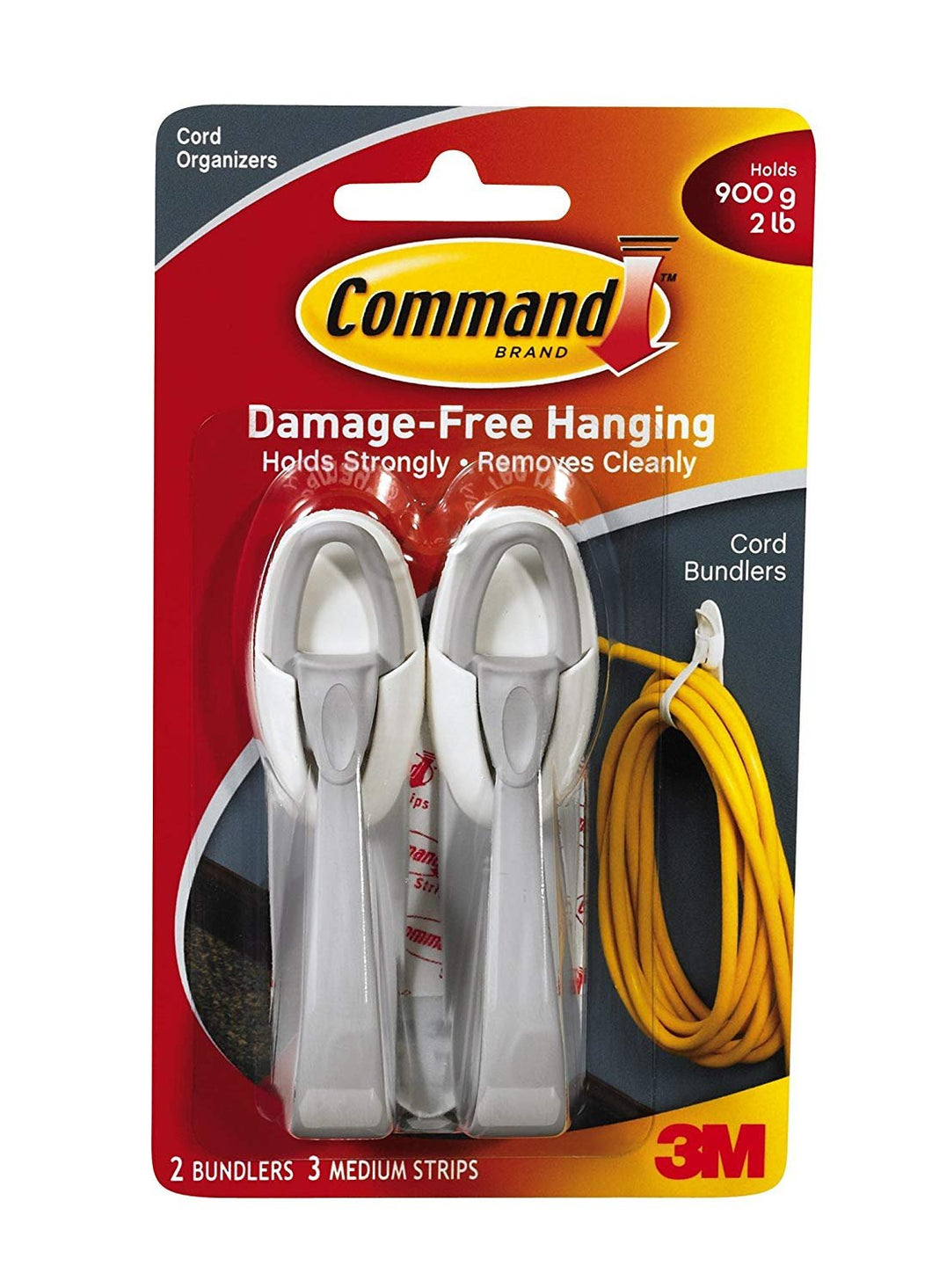 Command Cord Bundlers, White, 3-PACK