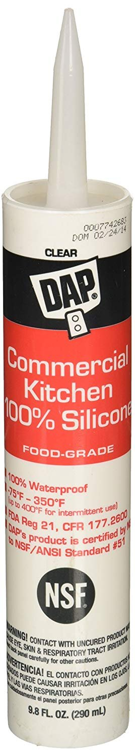 DAP 08658 Commercial Kitchen Silicone Cl Raw Building Material, 9.8-Ounce, Clear