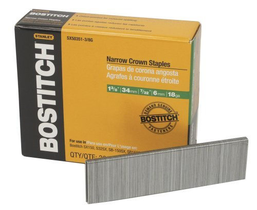 BOSTITCH SX50351-3/8G 1-3/8-Inch by 18 Gauge by 7/32-Inch Crown Finish Staple (3,000 per Box)