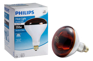 Philips 415836 Heat Lamp Bulb 250-Watt R40 Red 4 Pack