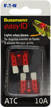 Load image into Gallery viewer, Bussmann BP/ATC-10ID easyID Illuminating Blade Fuse, (Pack of 2)