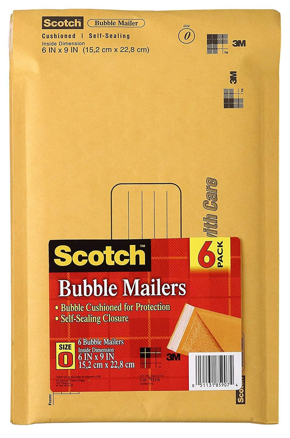 Scotch Bubble Mailer, 6 in x 9 in, Size #0, 6-Pack (7913-6)